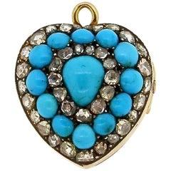 Antique Victorian Rose Cut Diamond Enamel Turquoise Heart Pendant