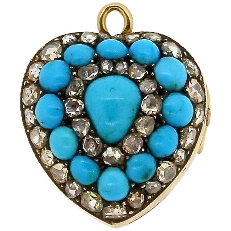 Antique Victorian Rose Cut Diamond Enamel Turquoise Heart Pendant 1