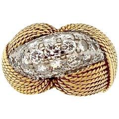 Sterlé Mid-Century Modern Diamond Gold Bombe Ring