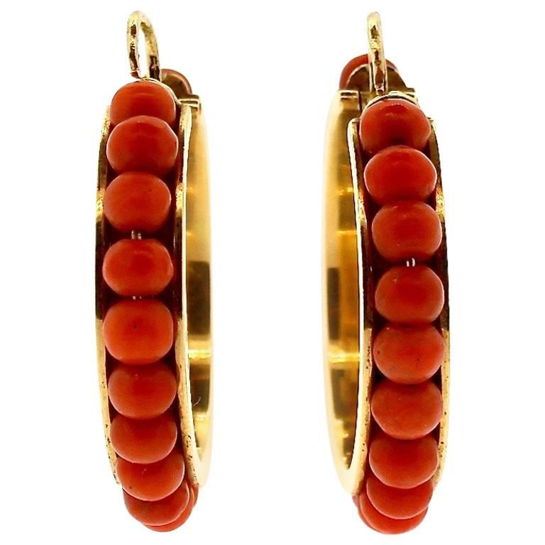 Vintage Coral Bead Gold Creole Hoop Earrings