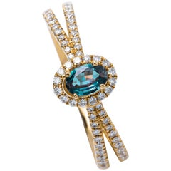 Oval Alexandrite and Diamond Ring with 18 Karat Yellow Gold