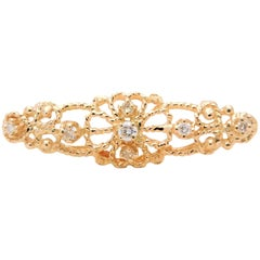 Gorgeous Victorian Style 14 Karat Gold and Diamond Bar Pin