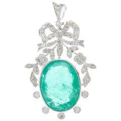 Platinum Emerald Diamond Pendant Bow Vine Motif 9.21ct