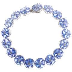 Tanzanite Diamond Cluster Bracelet 32.93ct