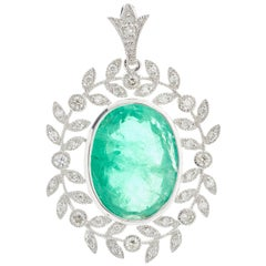 Emerald Diamond Drop Pendant 12.04 Carat in Platinum Art Deco Style