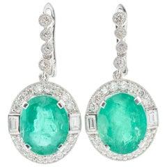 Emerald Diamond Platinum Earrings