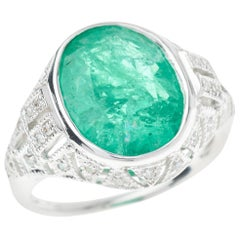 Art Deco Emerald Platinum Diamond Ring 5.90 Carat