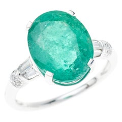 Emerald Diamond Ring Oval 5.81 Carat Platinum