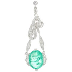 4.92 Carat Emerald Diamond Pendant Oval Platinum
