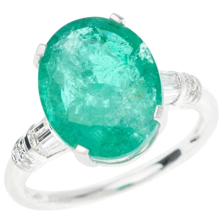 5.40 Carat Emerald Diamond Ring Oval Platinum