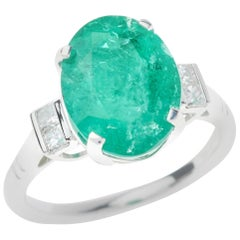 5.30 Carat Oval  Emerald Diamond Platinum Ring