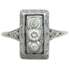 1920s Diamond and Sapphire Yellow Gold Art Deco Ring