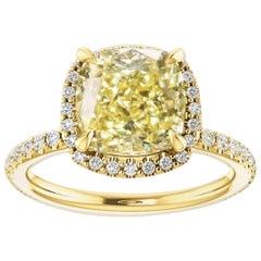 Cushion Cut Yellow Diamond Ring with White Diamond Pave