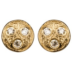 Diamond Gold-Plated Round Earrings