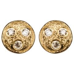 Bonds of Union ' Diamonds on Miniplanet ' Yellow Gold Plated Earstuds. Ltd Ed.