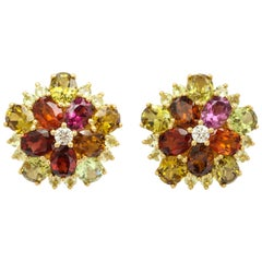 Flower Garnet, Chrysoberyl and Diamond Earrings