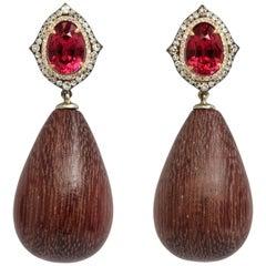 Rhodolite, Diamond and Amaranth Wood Drop Earrings