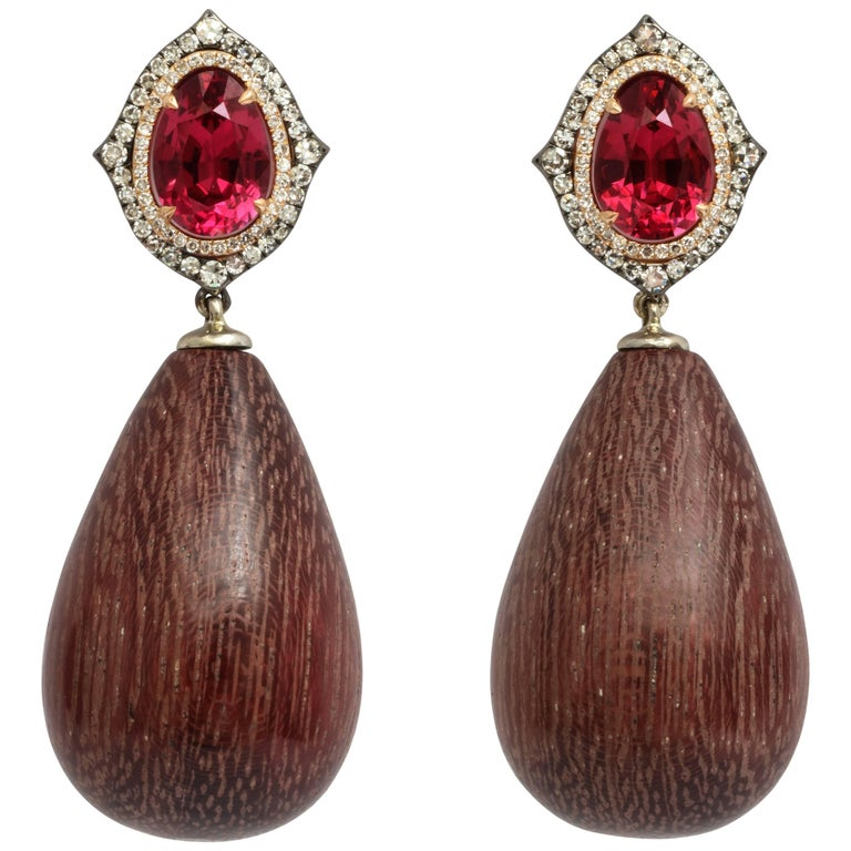 Donna Vock Rhodolite, Diamond and Amaranth Wood Drop Earrings For Sale