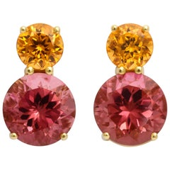 Donna Vock Mandarin Garnet and Pink Tourmaline Earrings