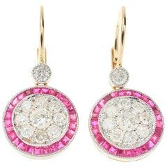 Art Deco Ruby Diamond Drop Earrings