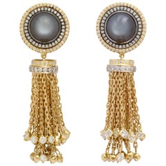 Donna Vock Grey Moonstone and Diamond Gold Tassel Earrings