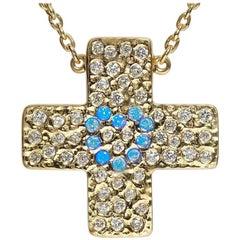 Diamond Yellow Gold Cross Pendant. 'Infinite Love' Limited edition: 10/12.