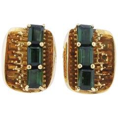 Modern Tourmaline Gold Earclips