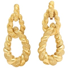 1970s Convertible Two Textured Gold Long Gold Doorknocker Loop Earrings