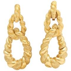 1970s Convertible Two Textured Gold Long Gold Doorknocker Loop Earrings