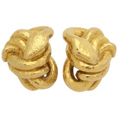 1970s French Figural Coiled Serpent Hand-Hammered Gold Clip on Earrings