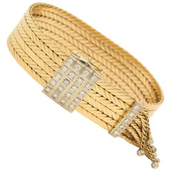 1950s Elegant Belt Strap Diamond Fringe Gold Flexible Tassel Bracelet
