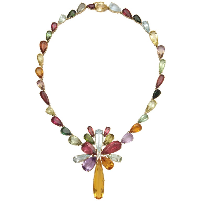 1970s  195 Carats of Multi-Colored Stones Diamond Collar Necklace 1