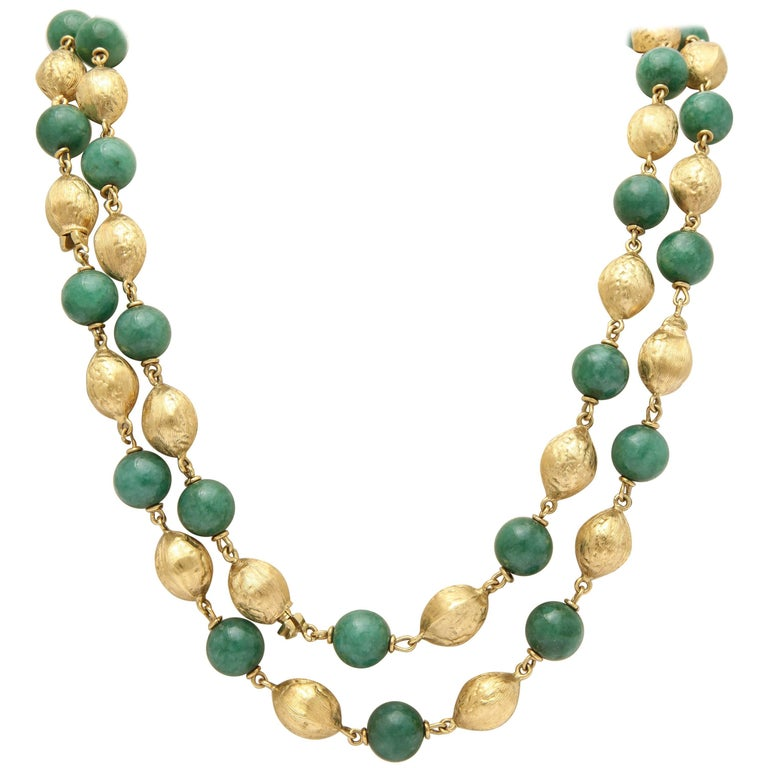 1950s Convertible Long Chain and Bracelet Jade and Gold Combination
