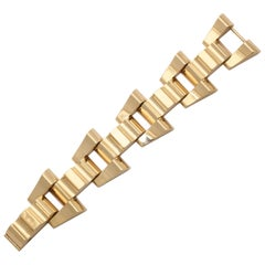 1940 Tiffany & Co. Architectural and Flexible Open Link Geometric Gold Bracelet