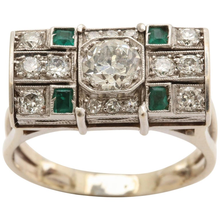Art Deco Roll Top Design Diamond and Emerald Platinum and Gold Ring