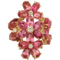 1950s Natural Intense Pink Tourmaline with Diamonds Large Floral Cocktail Ring
