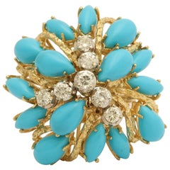 1960s Large Cabochon Marquis Cut Persian Turquoise and Diamond Gold Ring