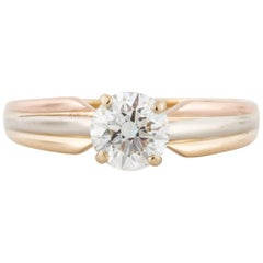 Cartier Tri-Color Gold Diamond Solitaire Engagement Ring