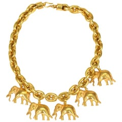 Cartier-Style 21.5 Carat Yellow Gold Elephant Necklet