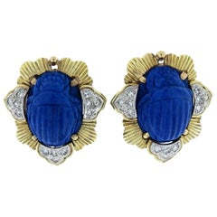 Carved Lapis and Diamond Scarab Earrings