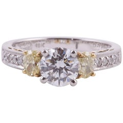 Platinum/18 Karat White and Yellow Diamond Ring