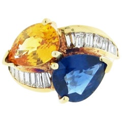 Gem Color Yellow and Blue Sapphire and Diamond Crossover Ring