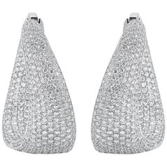 Pave Diamond Inside-Out Wave Hoop Earrings