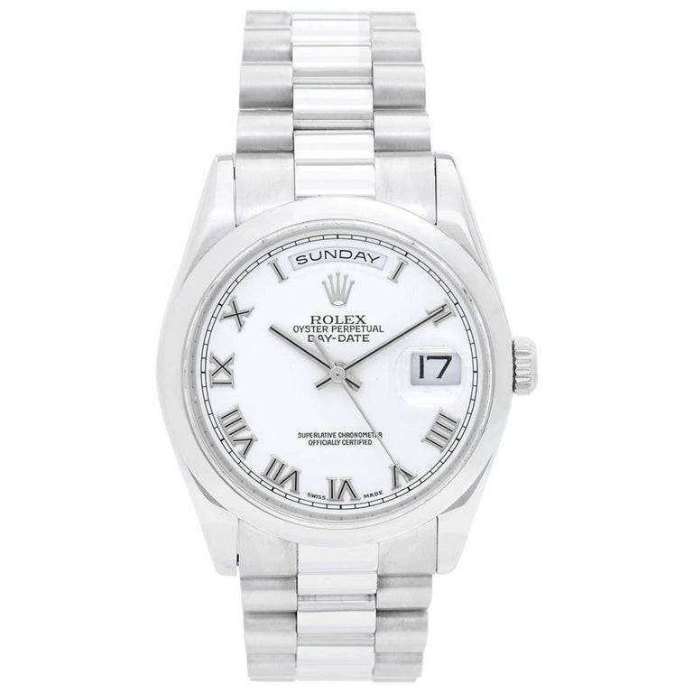 Rolex Platinum President Day-Date White Dial Wristwatch Ref 118206