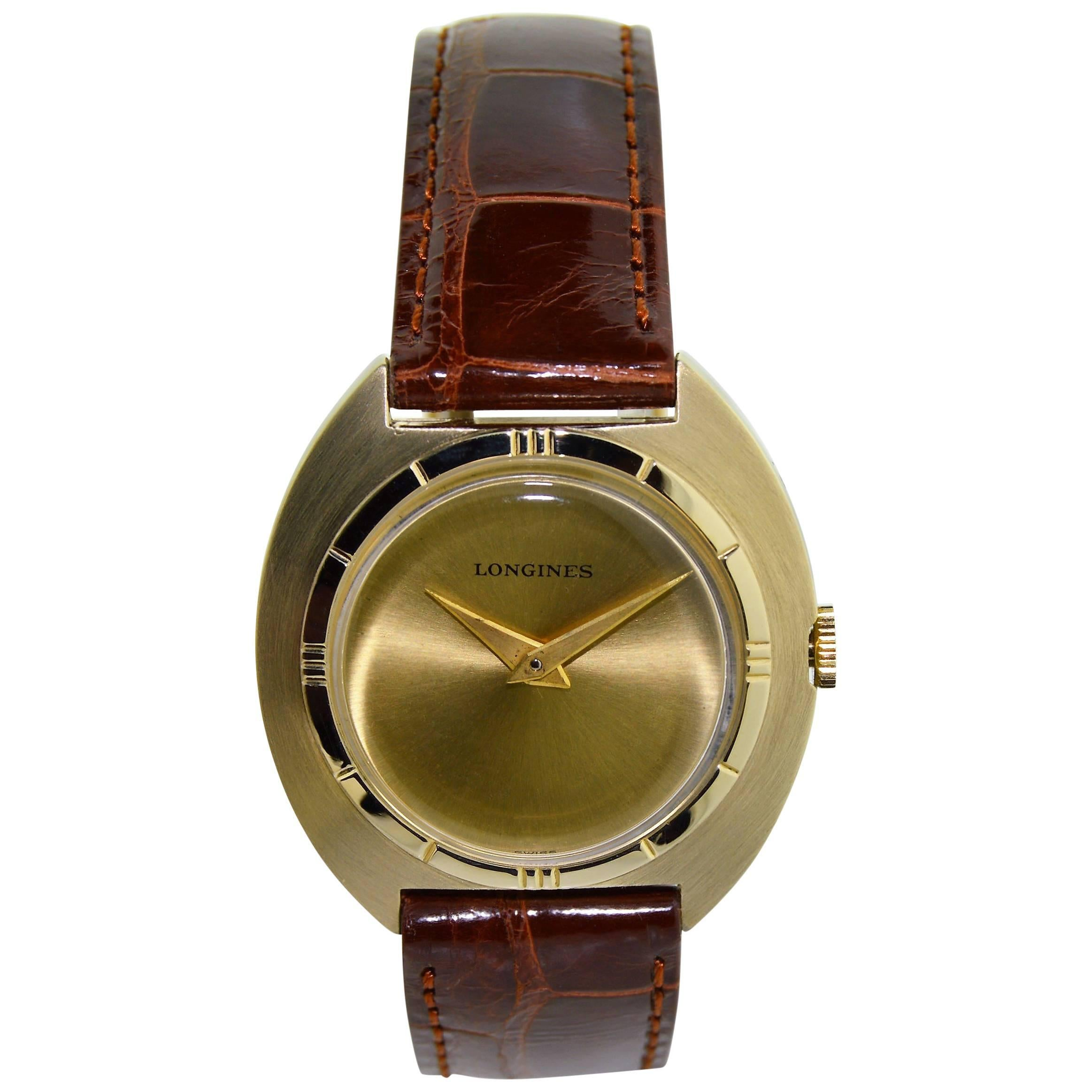 Longines Yellow Gold Filled Moderne Style Tonneau Shaped Manual Watch