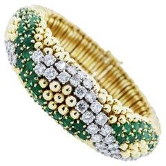 Tailored Emerald Diamond Gold Bracelet