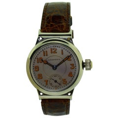 Hampden Nickel Silver Early American Campaign Style Manual Wristwatch