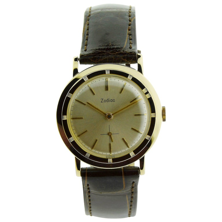 Zodiac Yellow Gold Moderne Style Manual Watch, circa 1950s For Sale