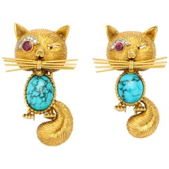 Pair of 1960s French Cat Brooches with Turquoise, Diamond and Ruby