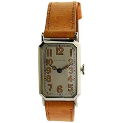 Longines White Gold Filled Art Deco Stern Freres Dial Early Manual Wristwatch